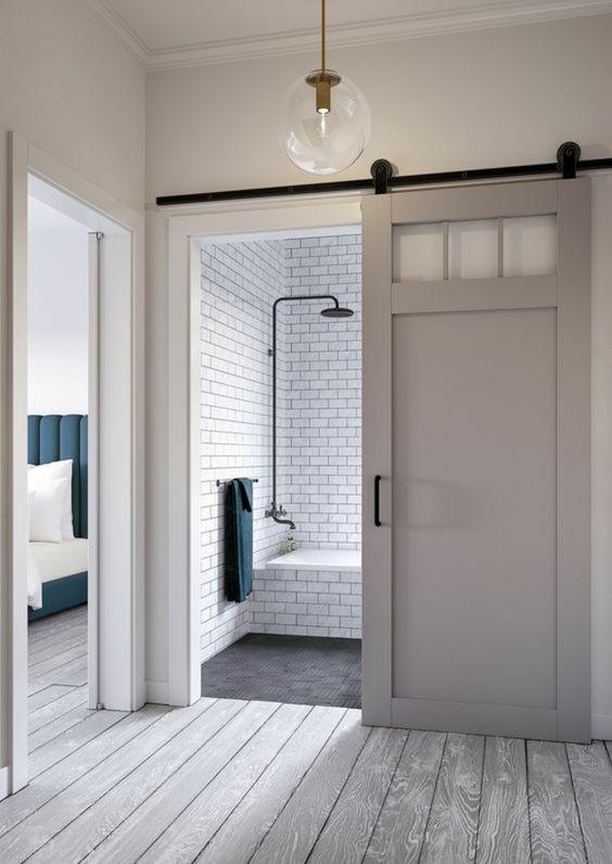 Comment gagner de la place dans une petite salle de bain - Porte coulissante salle de bains ...